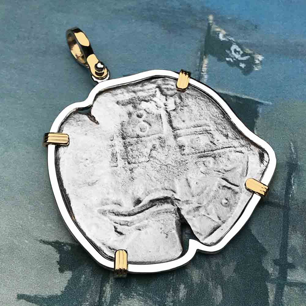 Consolacion Shipwreck Pirate Spanish 8 Reale 1674 Piece of Eight 14K Gold & Silver Necklace