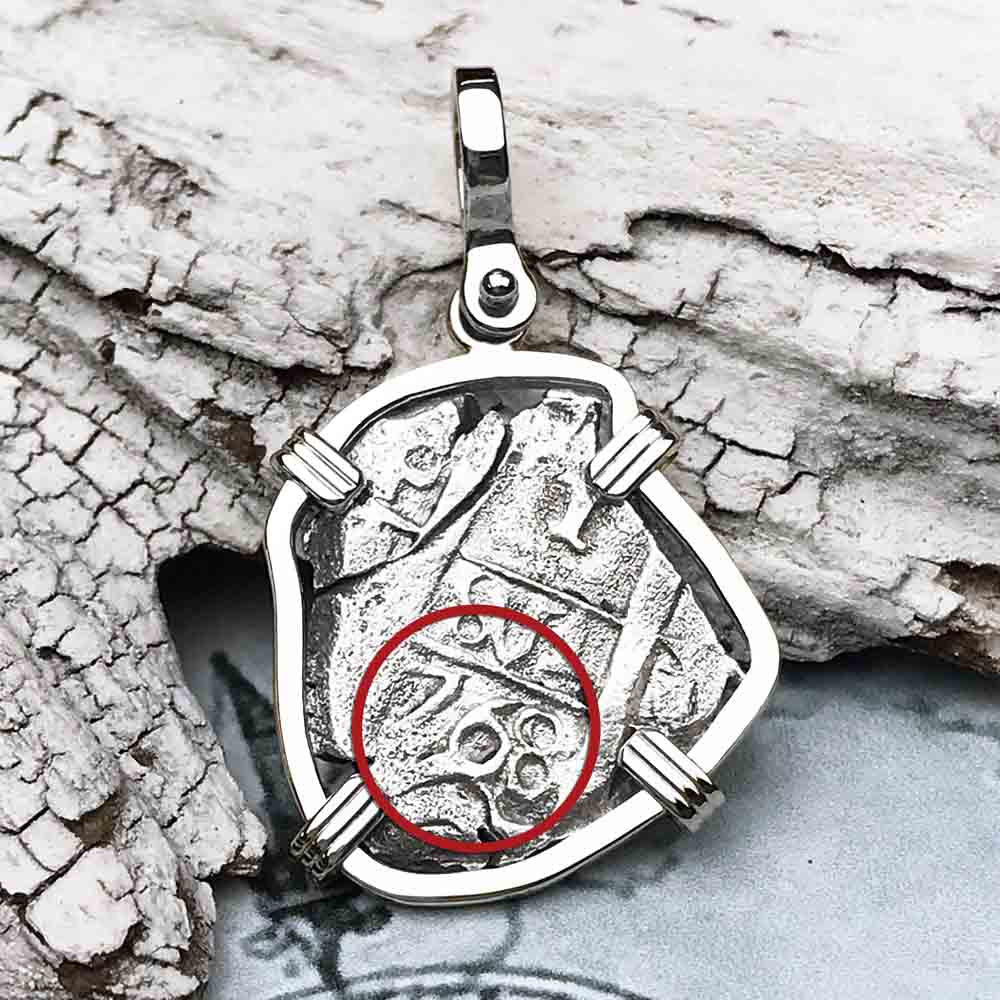 "1768 Spanish 1 Reale Pirate ""Piece of Eight"" 14K White Gold Necklace"