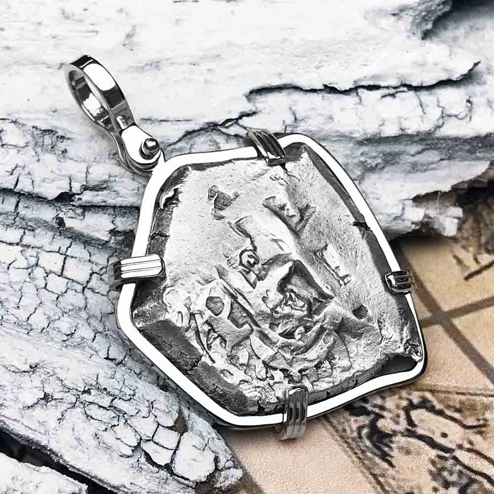 "1754 Spanish 4 Reale Pirate ""Piece of Eight"" 14K White Gold Necklace"