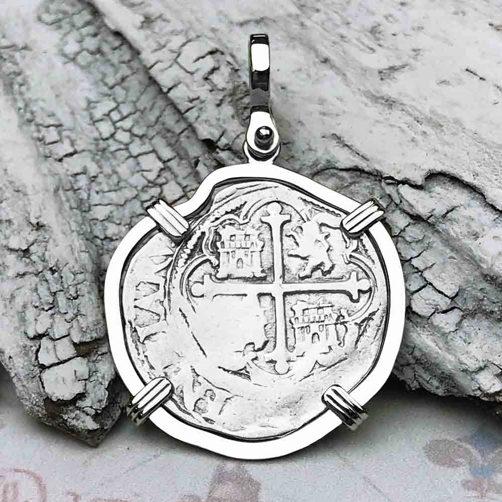 "Circa 1580 Spanish 1 Reale Cob Pirate ""Piece of Eight"" Necklace in 14K White Gold"