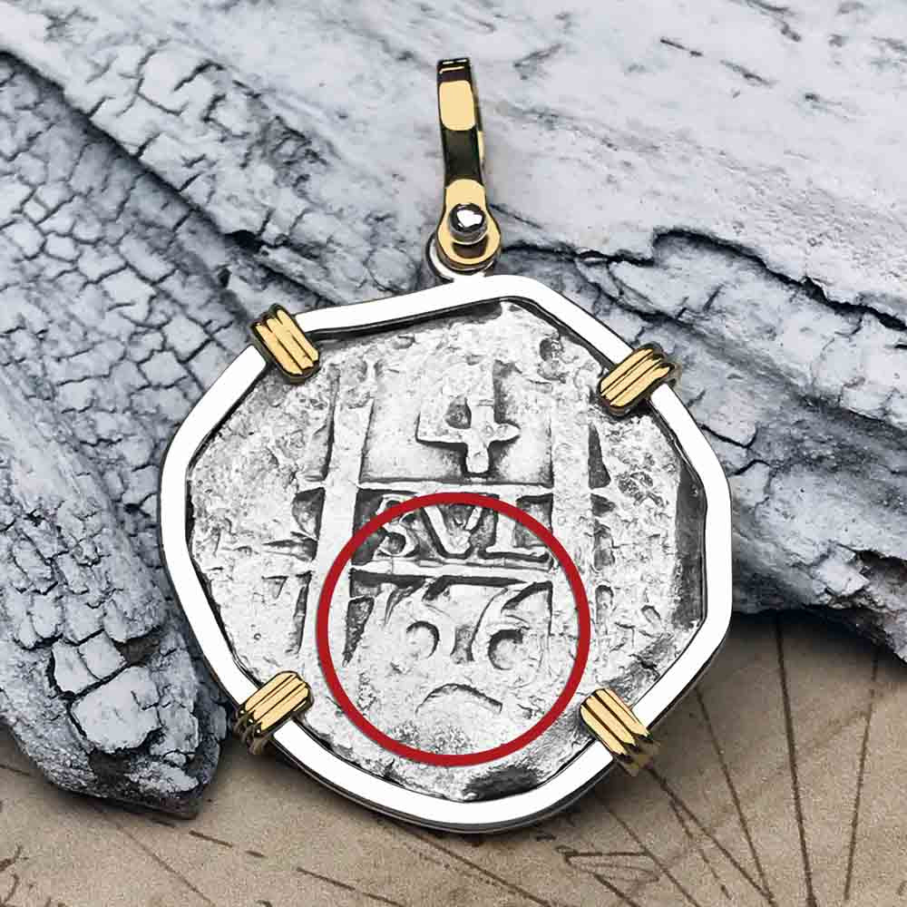 "1766 Spanish 4 Reale Pirate ""Piece of Eight"" 14K Gold & Silver Necklace"