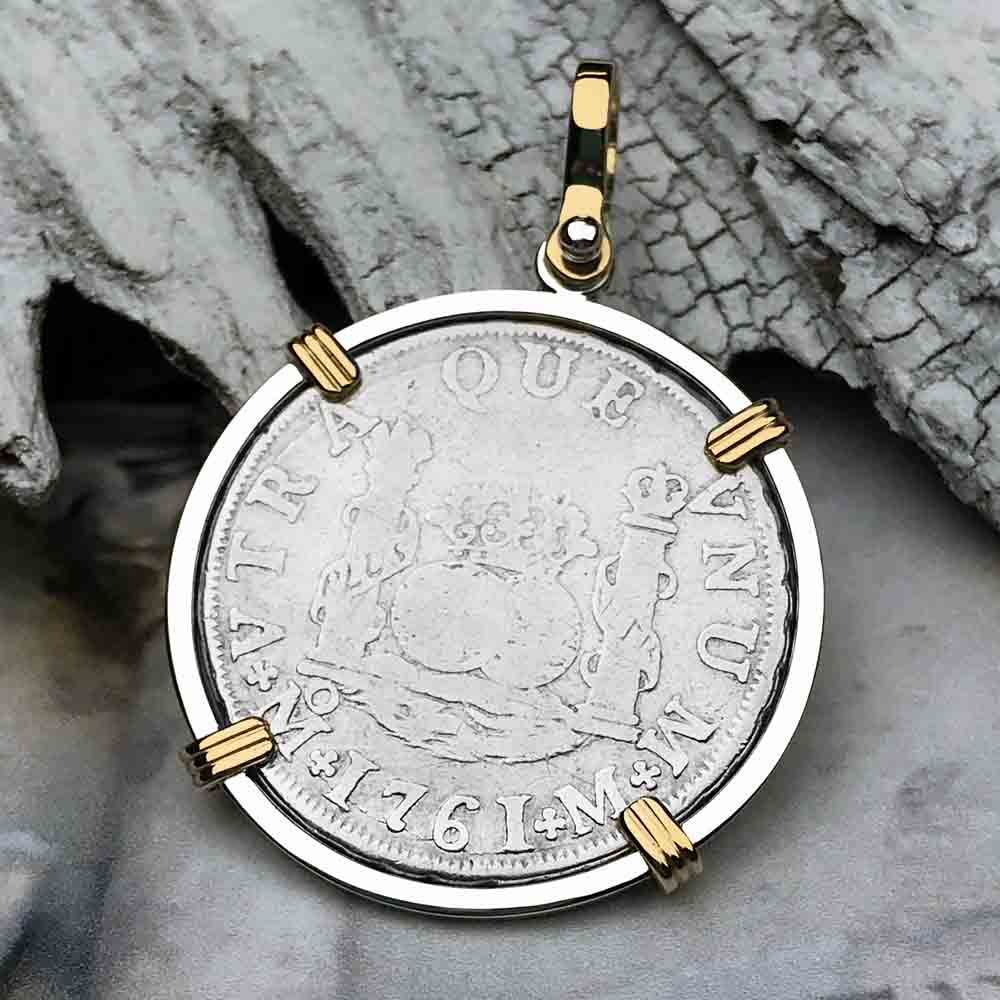 "1761 Spanish 2 Reale Pirate ""Piece of Eight"" Pillar Dollar Pendant in 14K Gold & Sterling Silver"