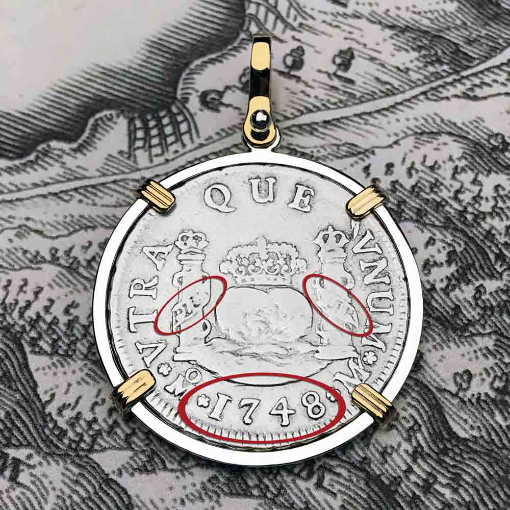"1748 Spanish 2 Reale Pirate ""Piece of Eight"" Pillar Dollar Pendant in 14K Gold & Sterling Silver"