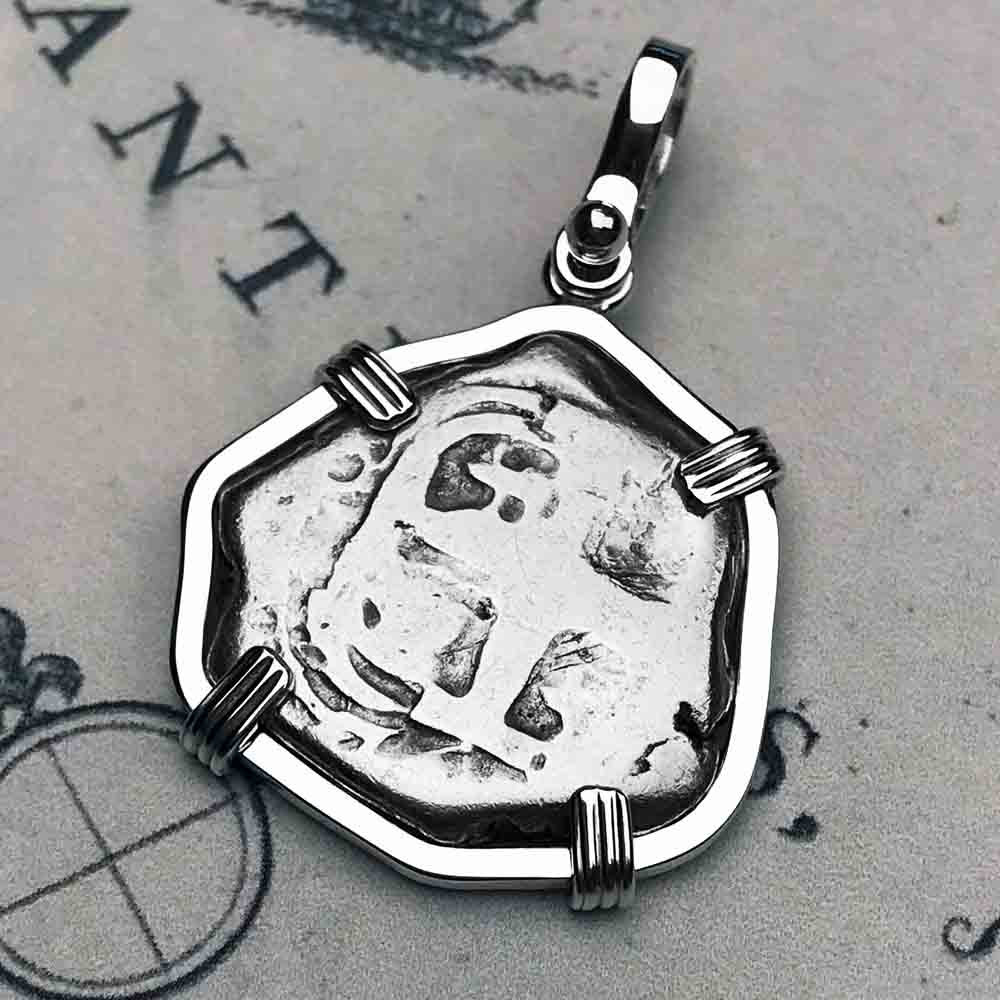"1765 Spanish 2 Reale Pirate ""Piece of Eight"" Sterling Silver Necklace"