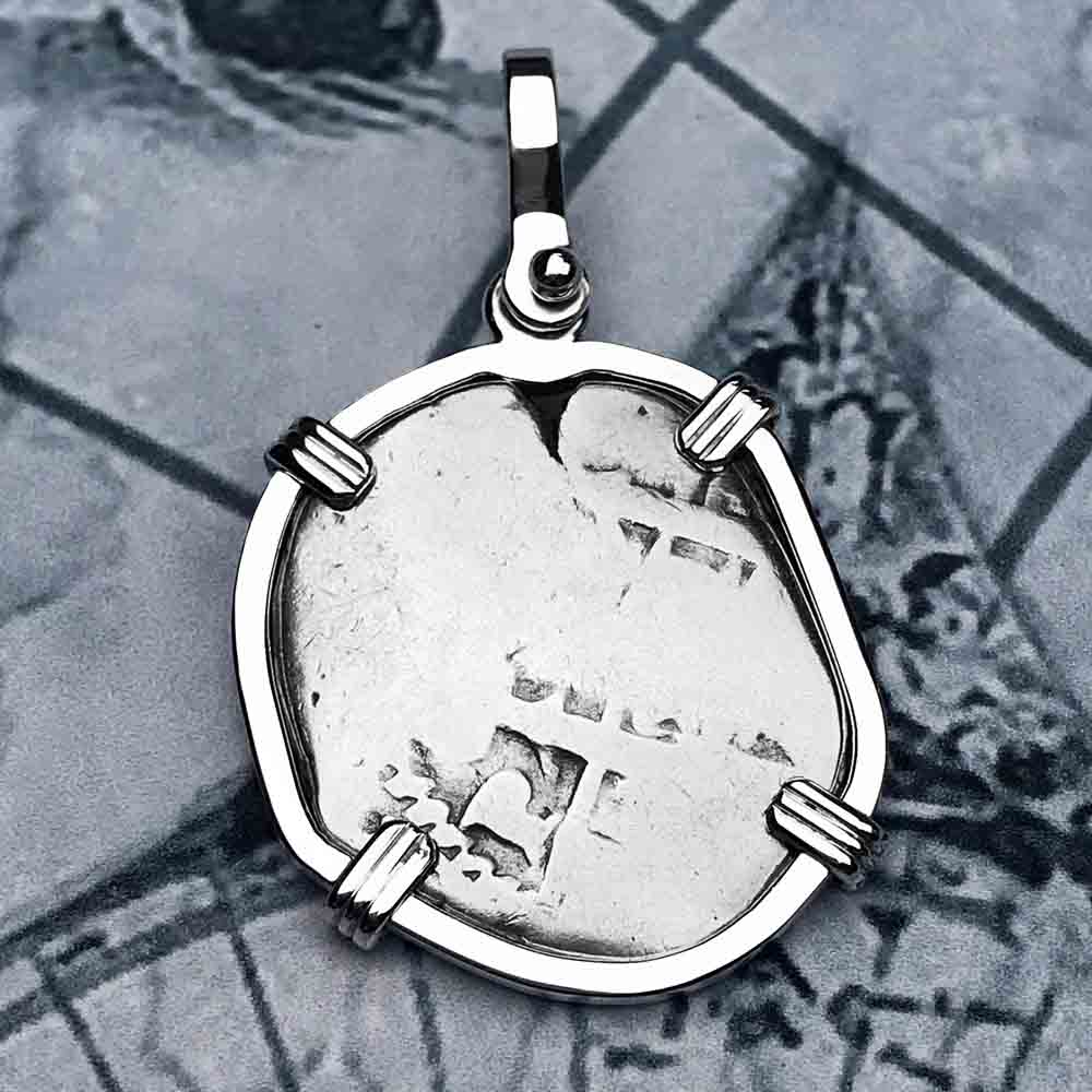 "Circa 1720 Spanish 2 Reale Pirate ""Piece of Eight"" Sterling Silver Necklace"