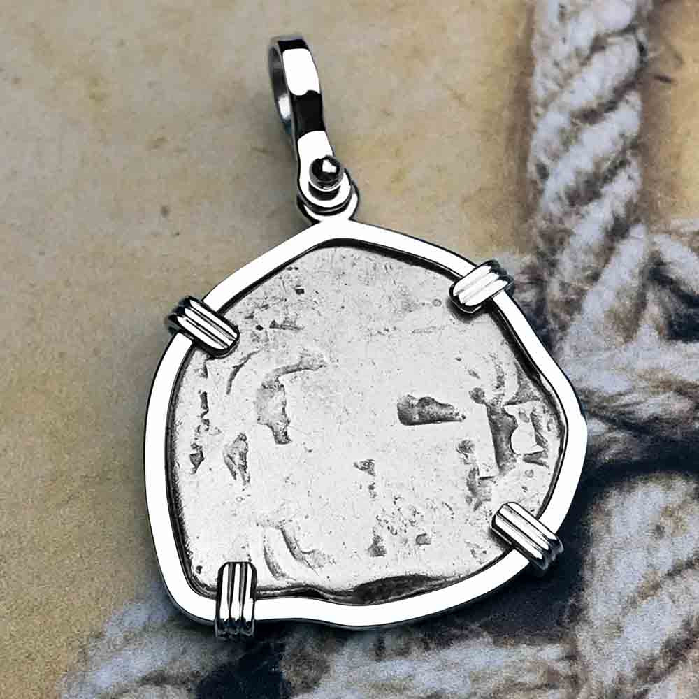 "1725 Spanish 2 Reale Pirate ""Piece of Eight"" Sterling Silver Necklace"