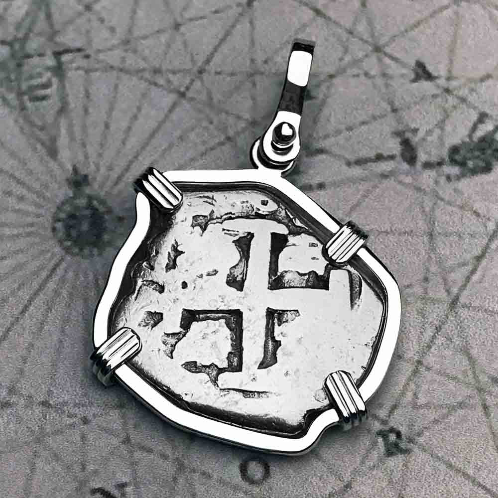 "1741 Spanish 2 Reale Pirate ""Piece of Eight"" Sterling Silver Necklace 