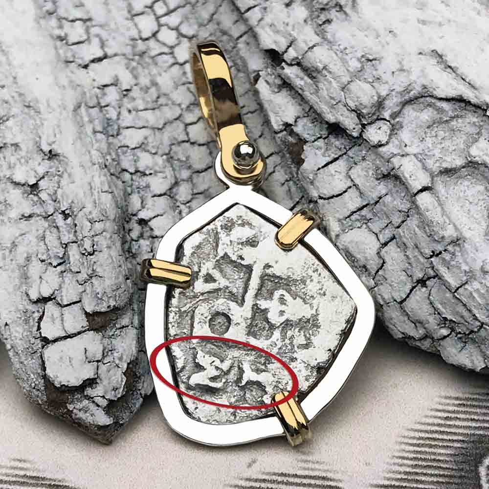 "1715 Fleet Shipwreck Spanish Rare Half Reale ""Piece of 8"" 14K and Sterling Silver Necklace"