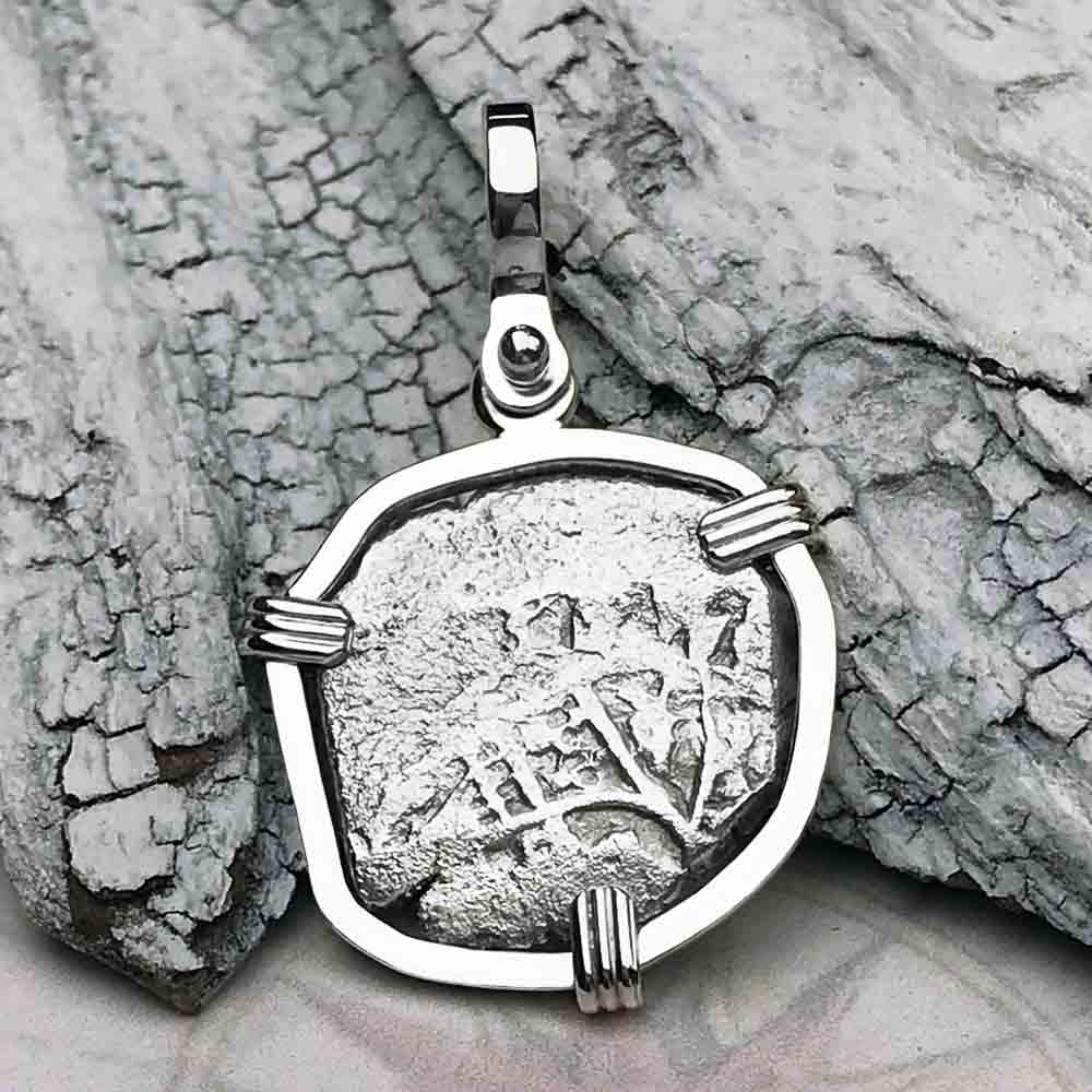 "1715 Fleet Shipwreck Spanish One Reale ""Piece of 8"" Sterling Silver Necklace"