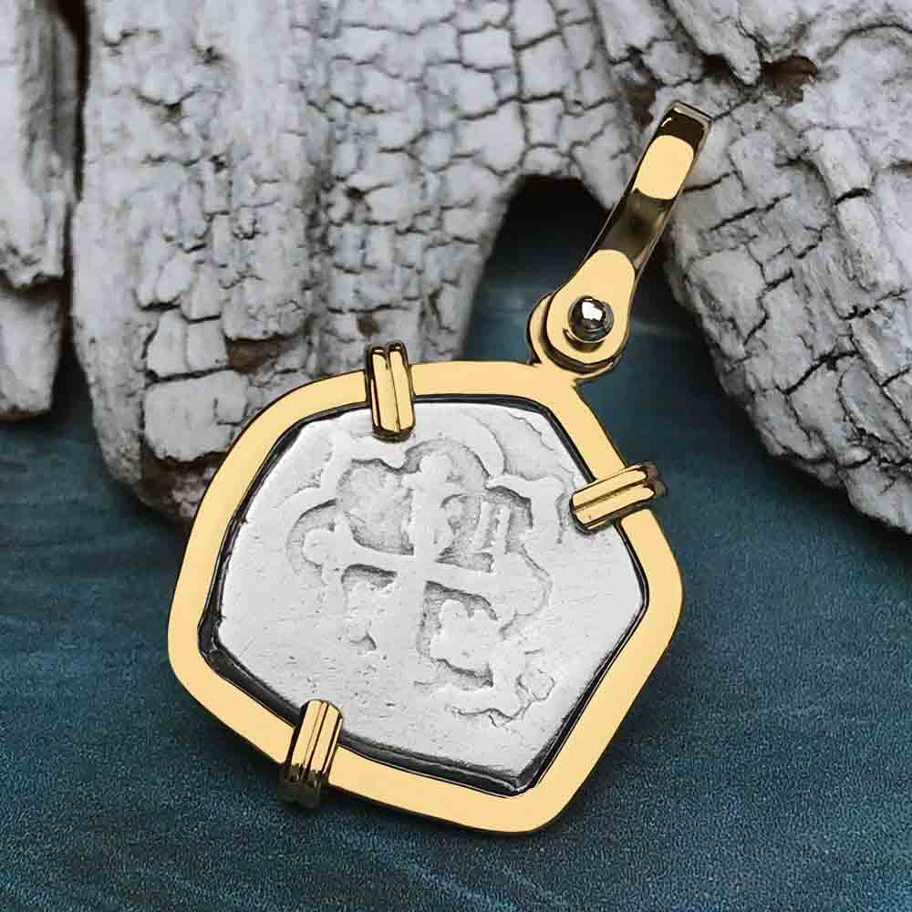 "1720 Spanish Half Real Reale Pirate ""Piece of Eight"" 14K Gold Necklace"