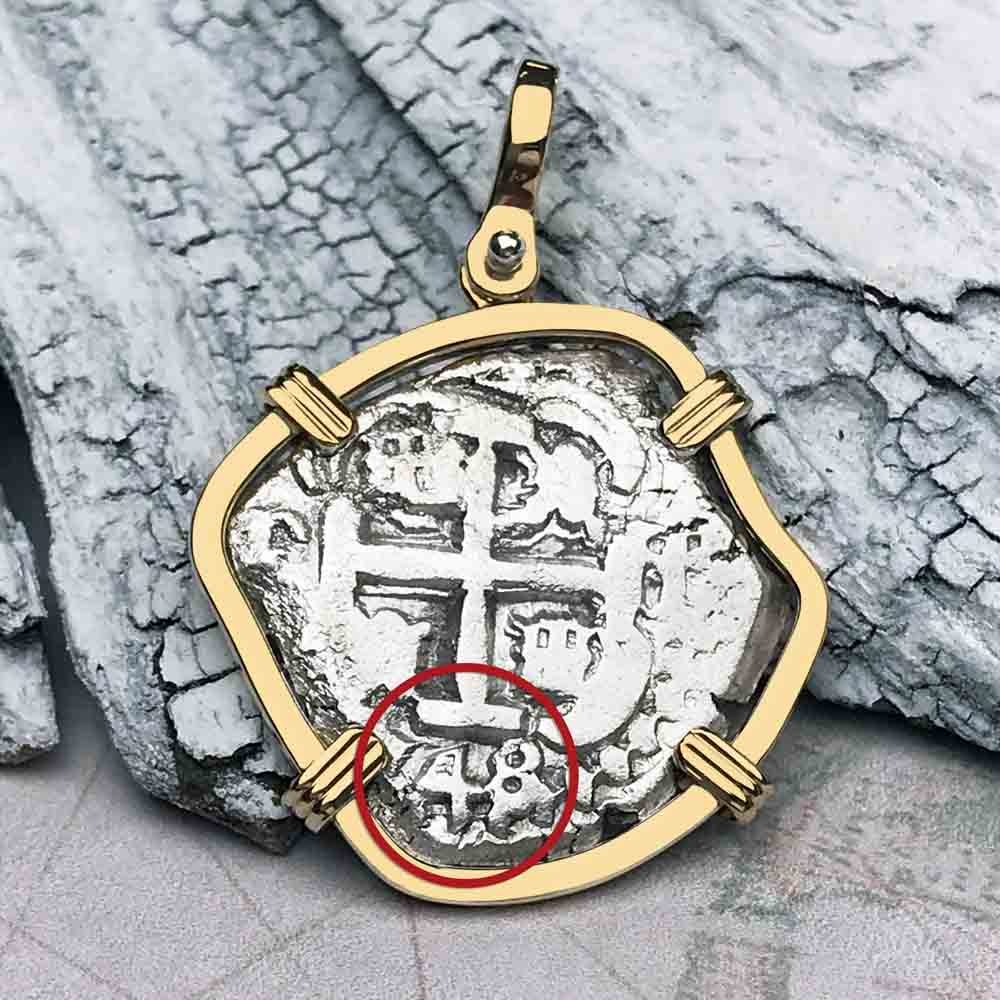 "1748 Spanish 2 Reale Pirate ""Piece of Eight"" 14K Gold Necklace"