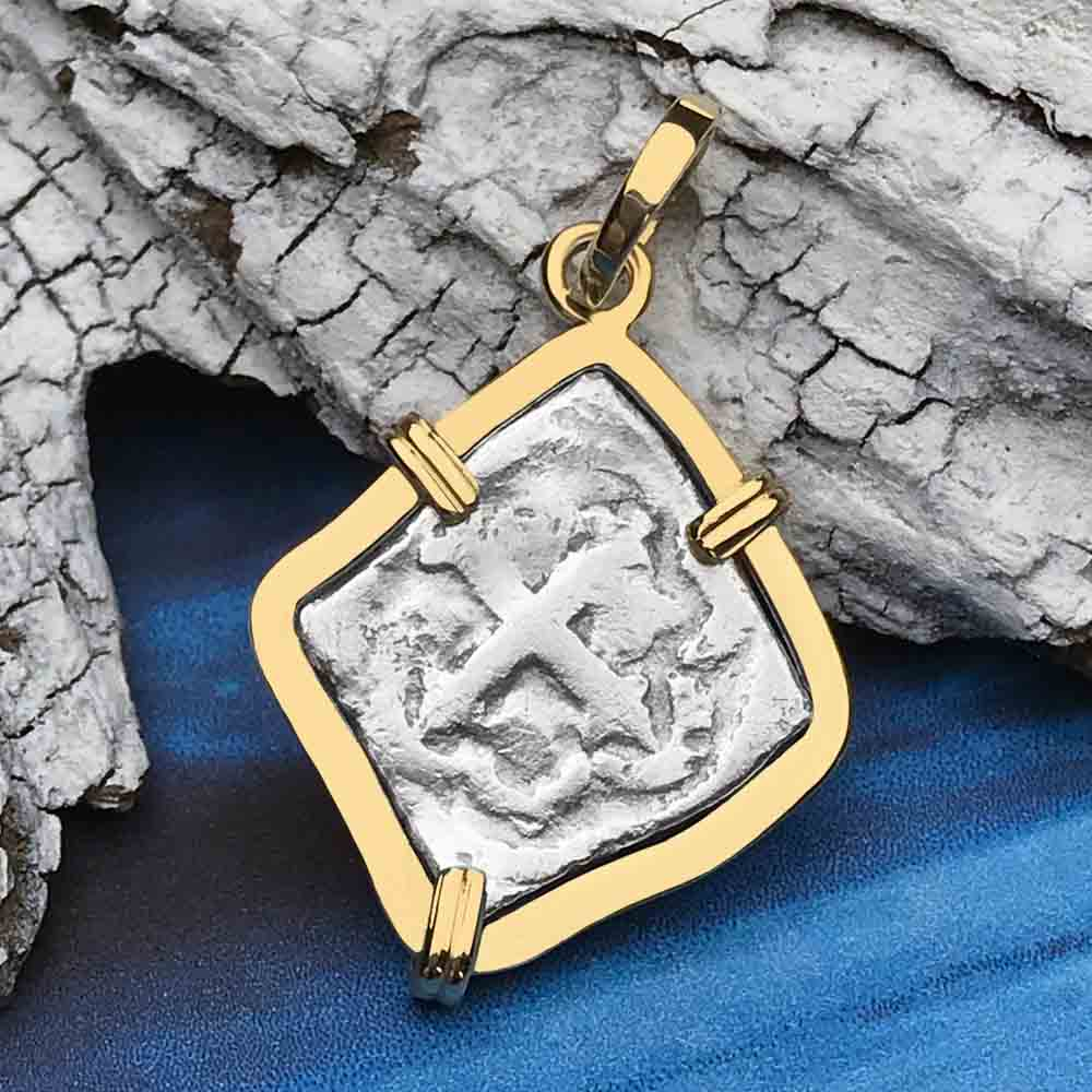 "1715 Fleet Shipwreck Spanish Rare Half Reale ""Piece of 8"" 14K Necklace"