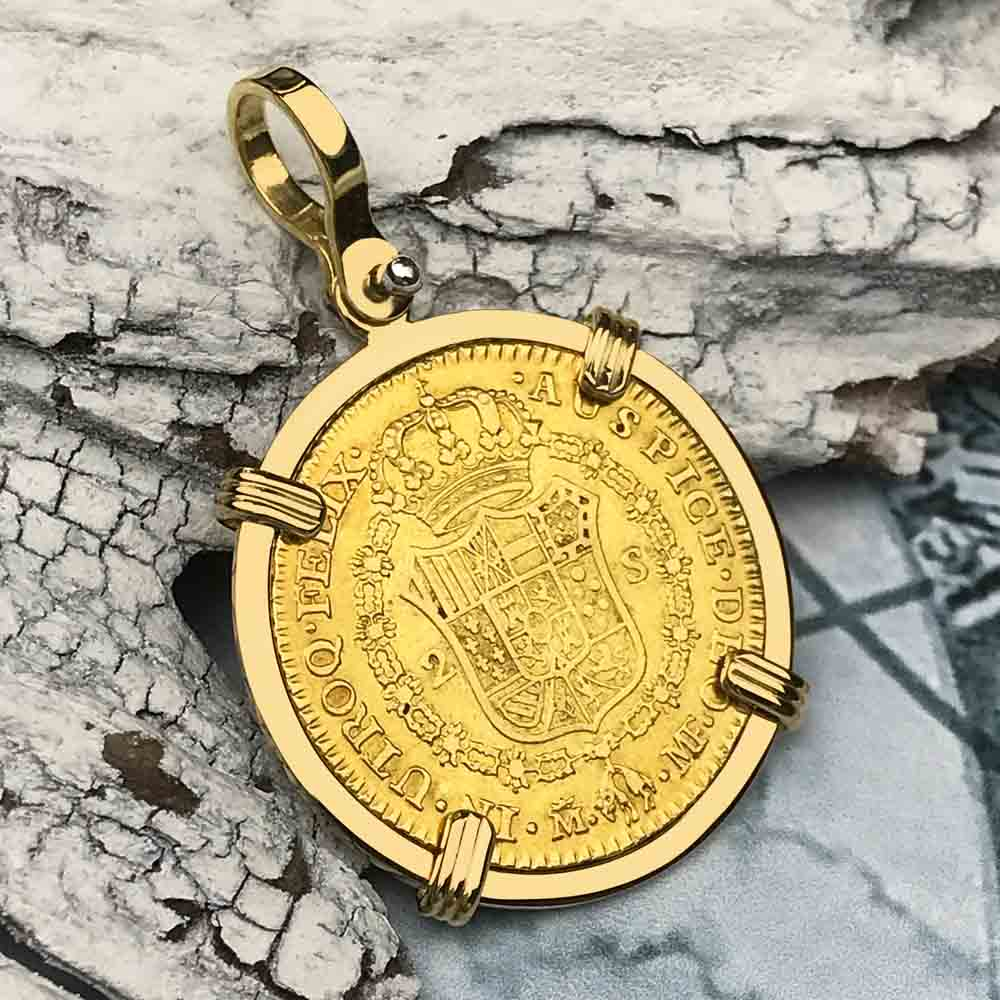 1793 Spanish Gold Portrait 2 Escudo - the Legendary Doubloon - 18K Gold Necklace