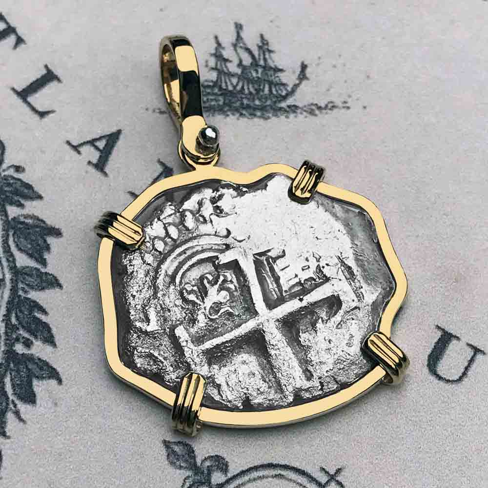 "1749 Spanish 2 Reale Pirate ""Piece of Eight"" 14K Gold Necklace"
