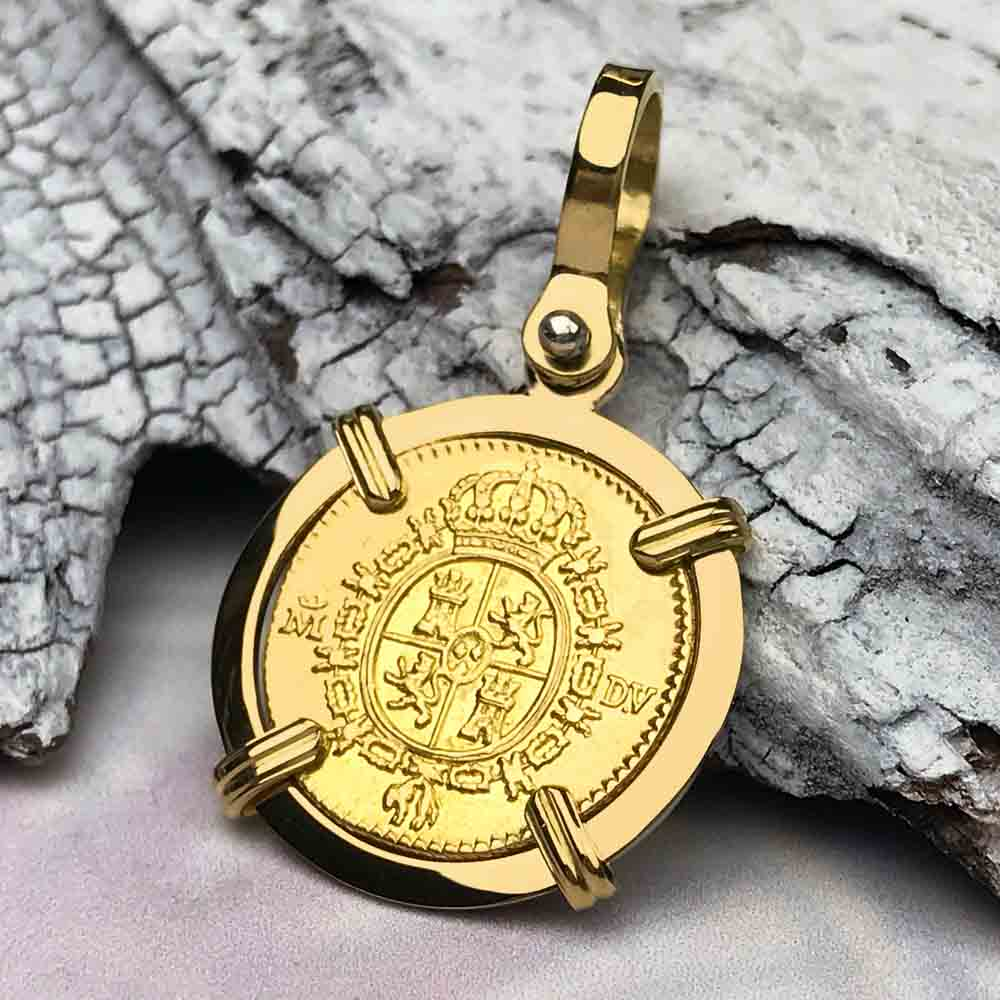 1787 Spanish Gold Portrait Half Escudo - the Legendary Doubloon - 18K Gold Necklace