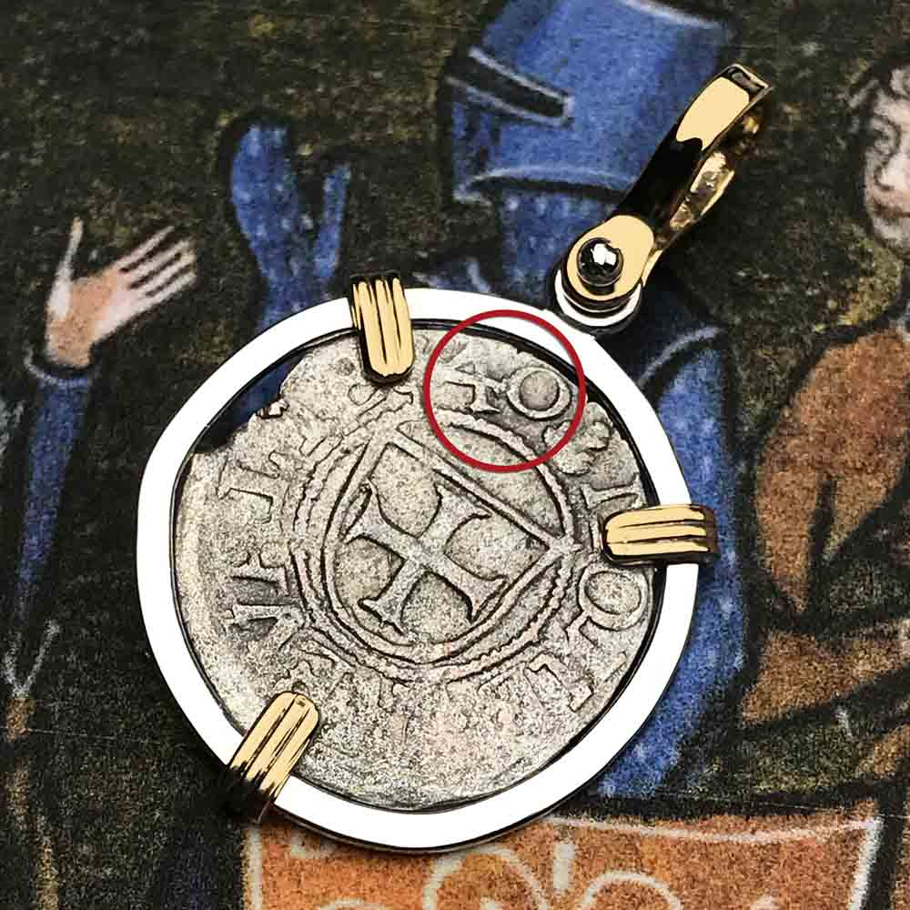 Help, Defend, Heal - Dated 1540 Crusader Coin of the Teutonic Knights 14K Gold & Silver Necklace