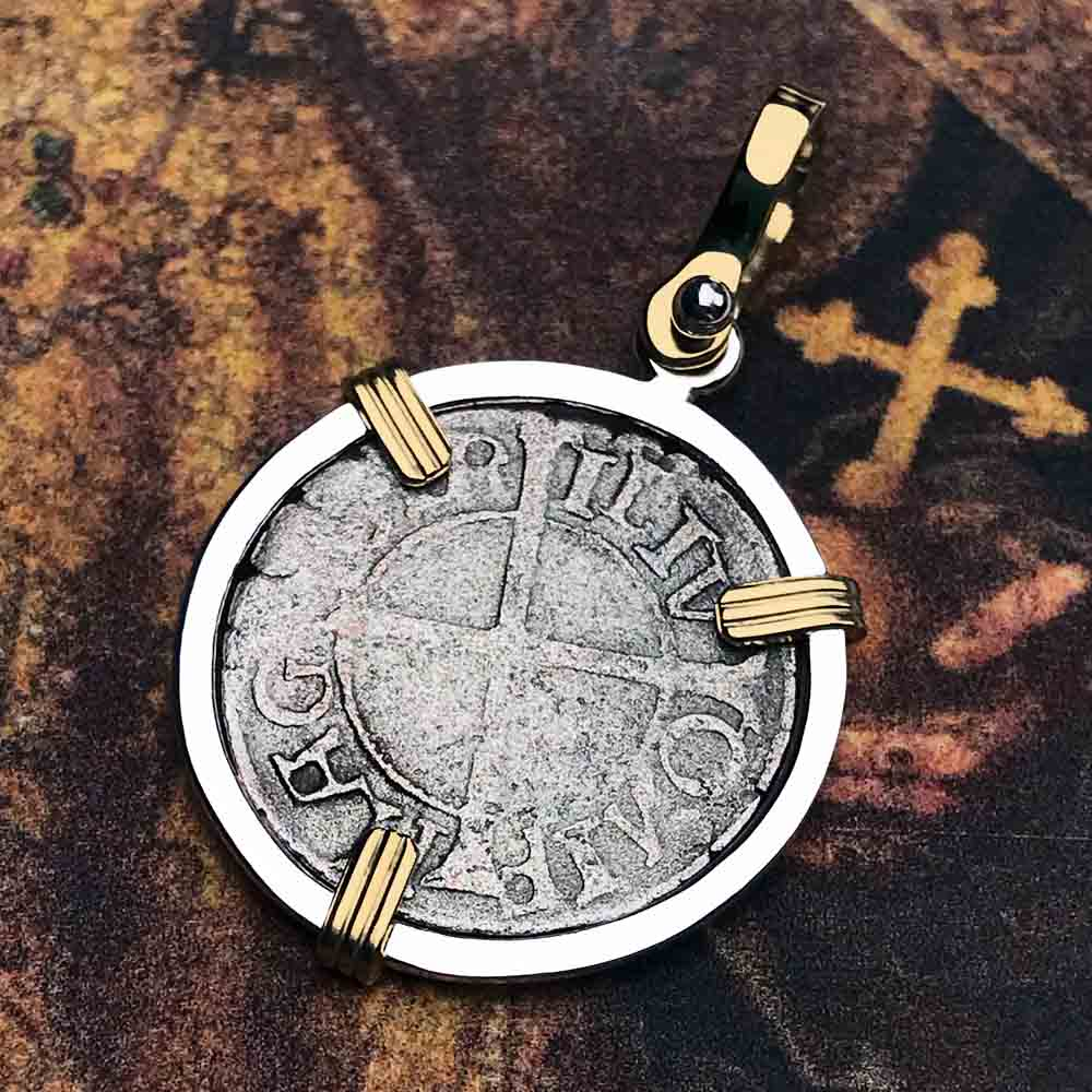 Help, Defend, Heal - Dated 1541 Crusader Coin of the Teutonic Knights 14K Gold & Silver Necklace