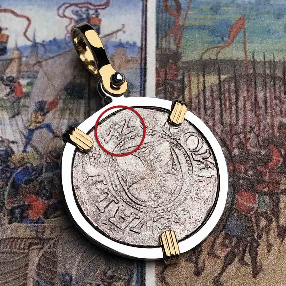 Help, Defend, Heal - Dated 1542 Crusader Coin of the Teutonic Knights 14K Gold & Silver Necklace