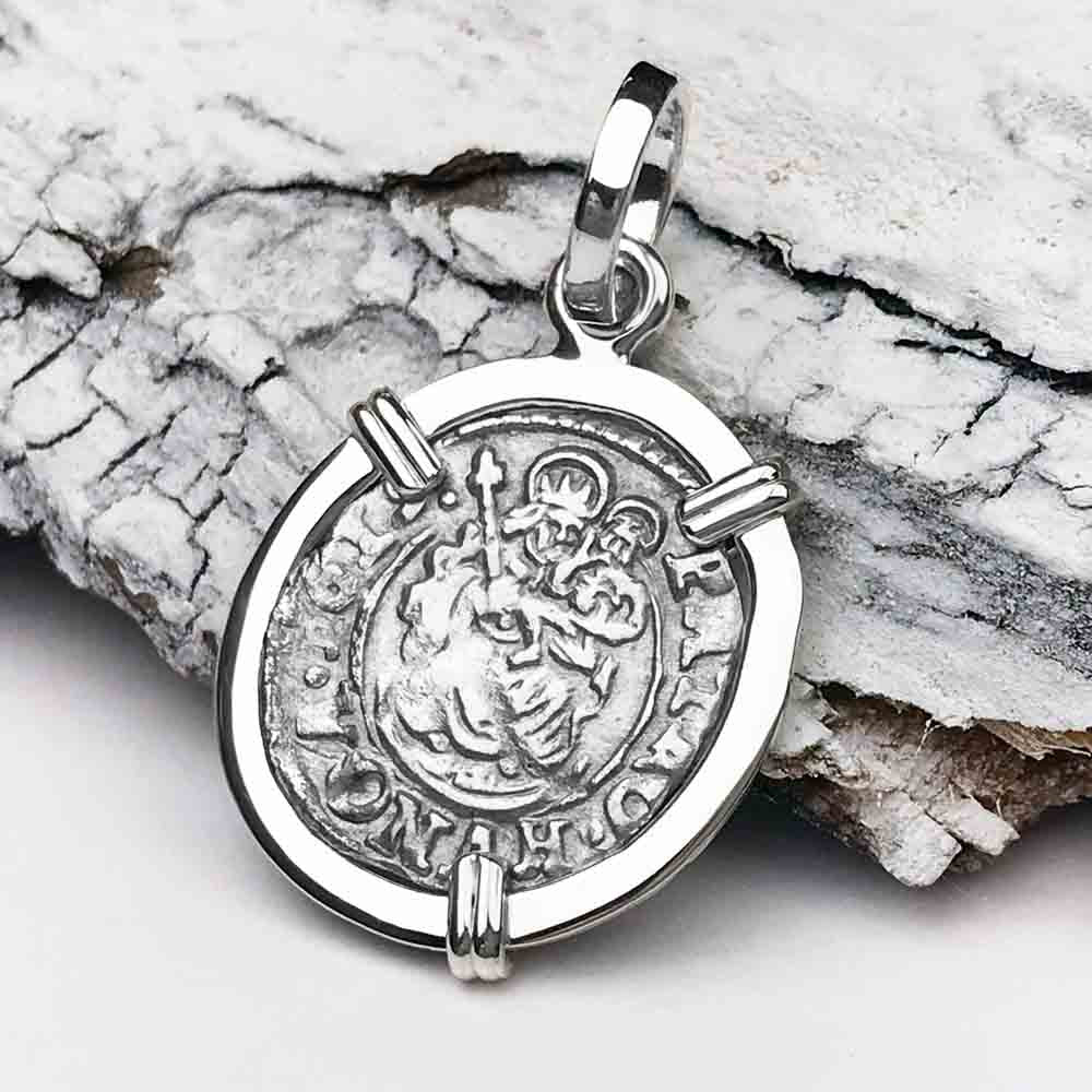 Silver Hungarian Denar Coin Pendant with Mary & Baby Jesus Dated