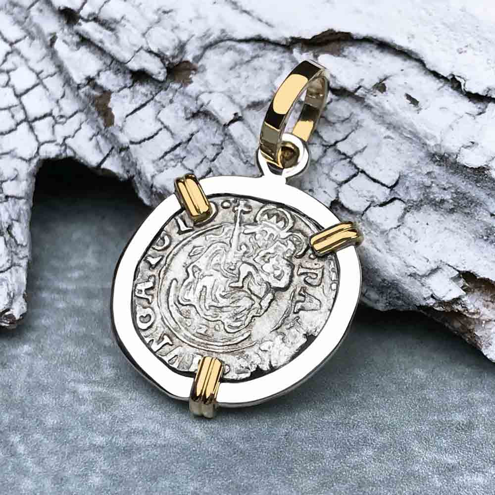 Silver Hungarian Denar Coin with Mary & Baby Jesus Dated 1619 14K Gold and Sterling Necklace