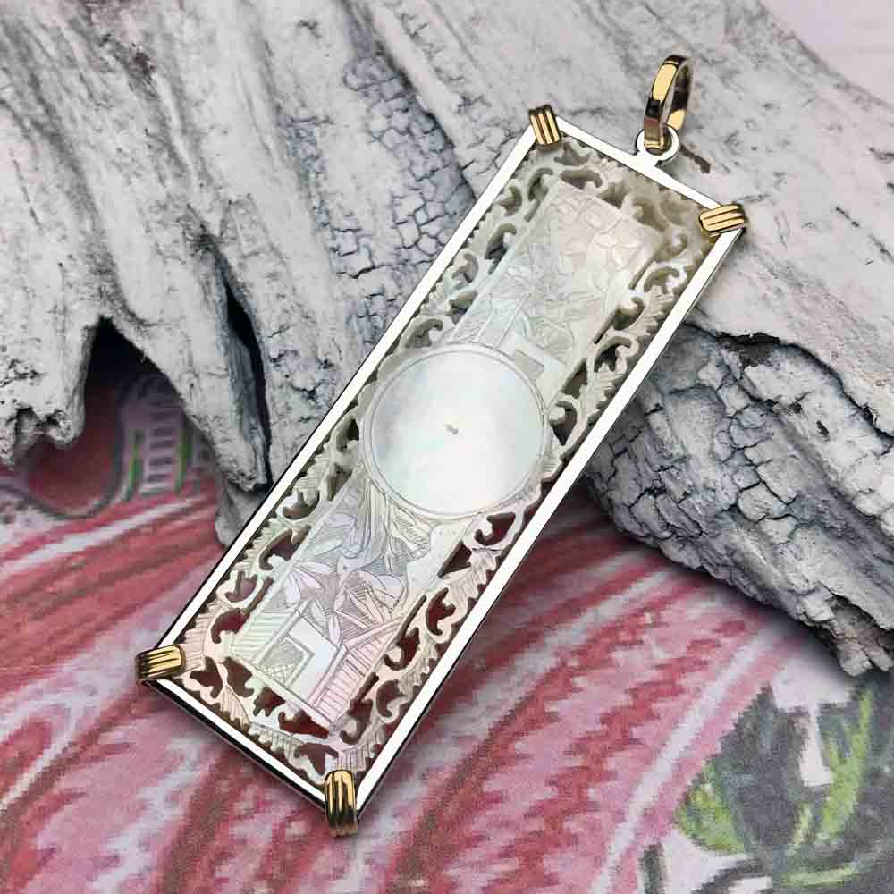 1750's Pierced Rectangle Mother of Pearl Gaming Counter Necklace in 14K Gold & Sterling Silver