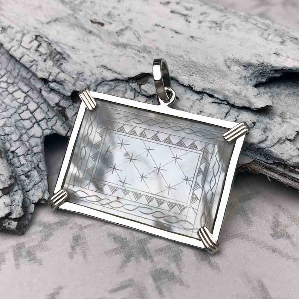 1750's Rectangle Mother of Pearl Gaming Counter Necklace in Sterling Silver