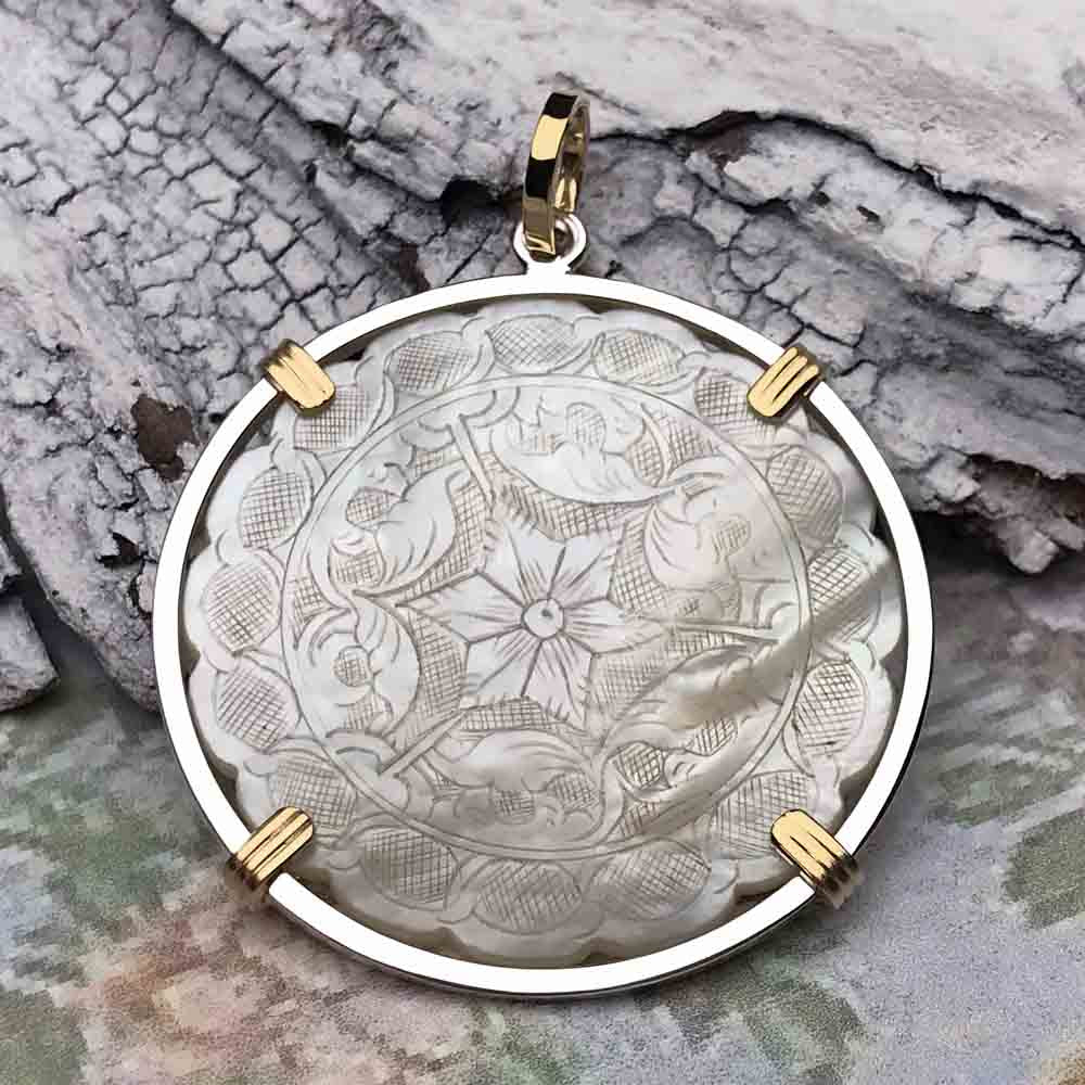 1750's Round Scalloped Mother of Pearl Gaming Counter Necklace in 14K Gold & Sterling Silver