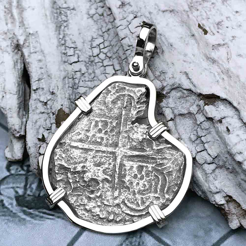 Mel Fisher's Atocha 4 Reale Shipwreck Coin 14K White Gold Necklace