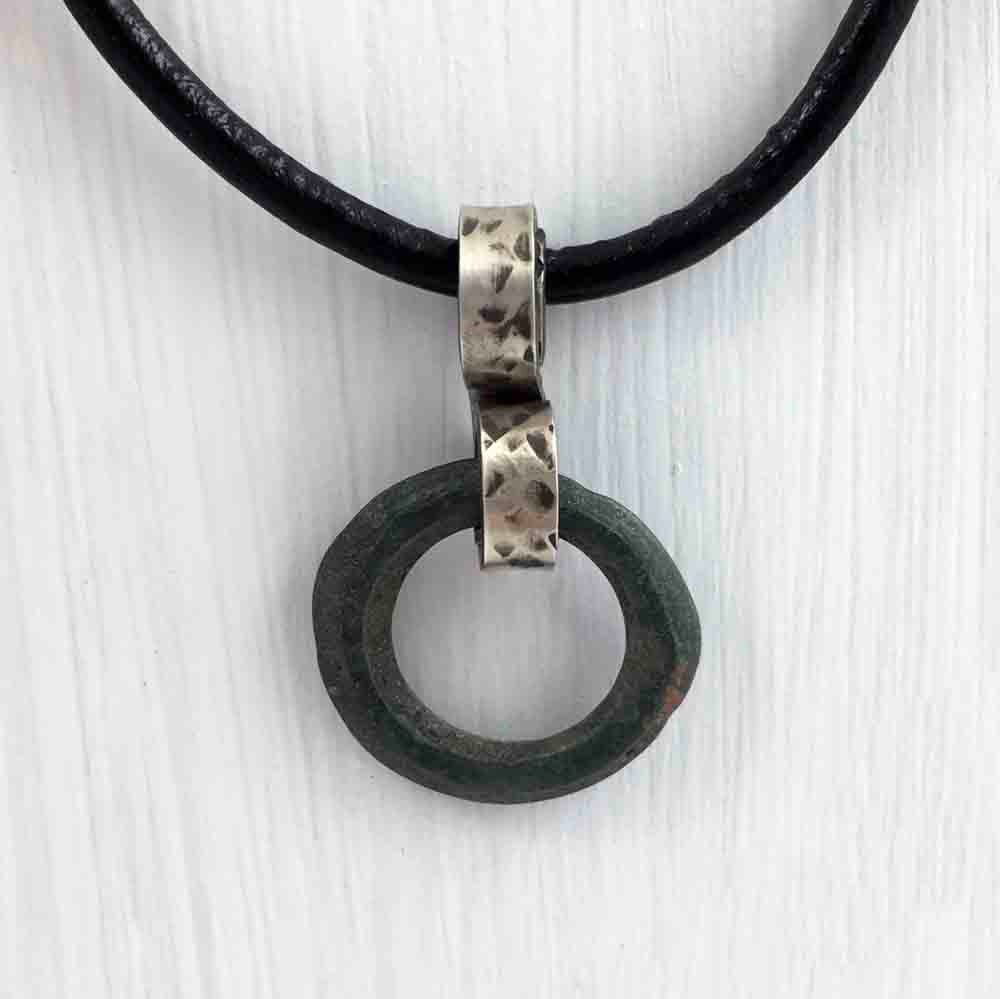 Ancient Bronze Celtic Ring Money Ancient Anvil Sterling Silver Pendant