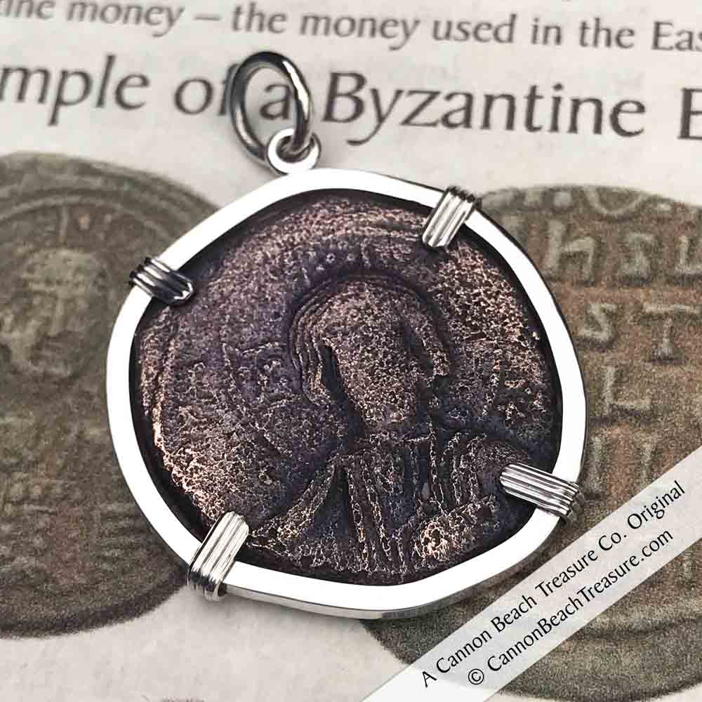 Byzantine Bronze Follis Pendant - Jesus Christ, King of Kings