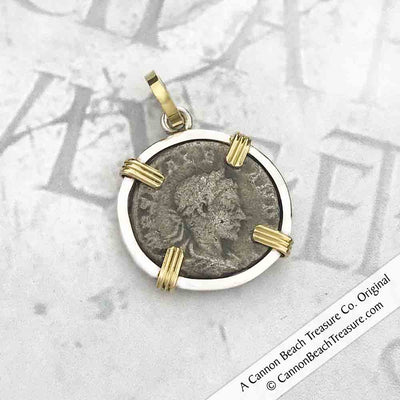 Roman Winged Victory Silver Denarius 18K Gold and Sterling Silver Coin Pendant