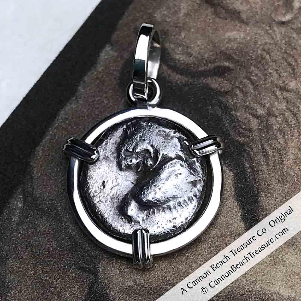 Ancient Greece Lion Hemidrachm 400 BC Necklace in Sterling Silver