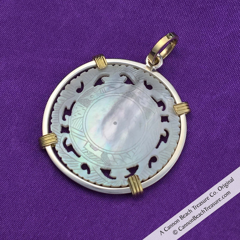 #8234 Round Pierced Mother of Pearl Gaming Counter Pendant in Sterling Silver & 18K Gold