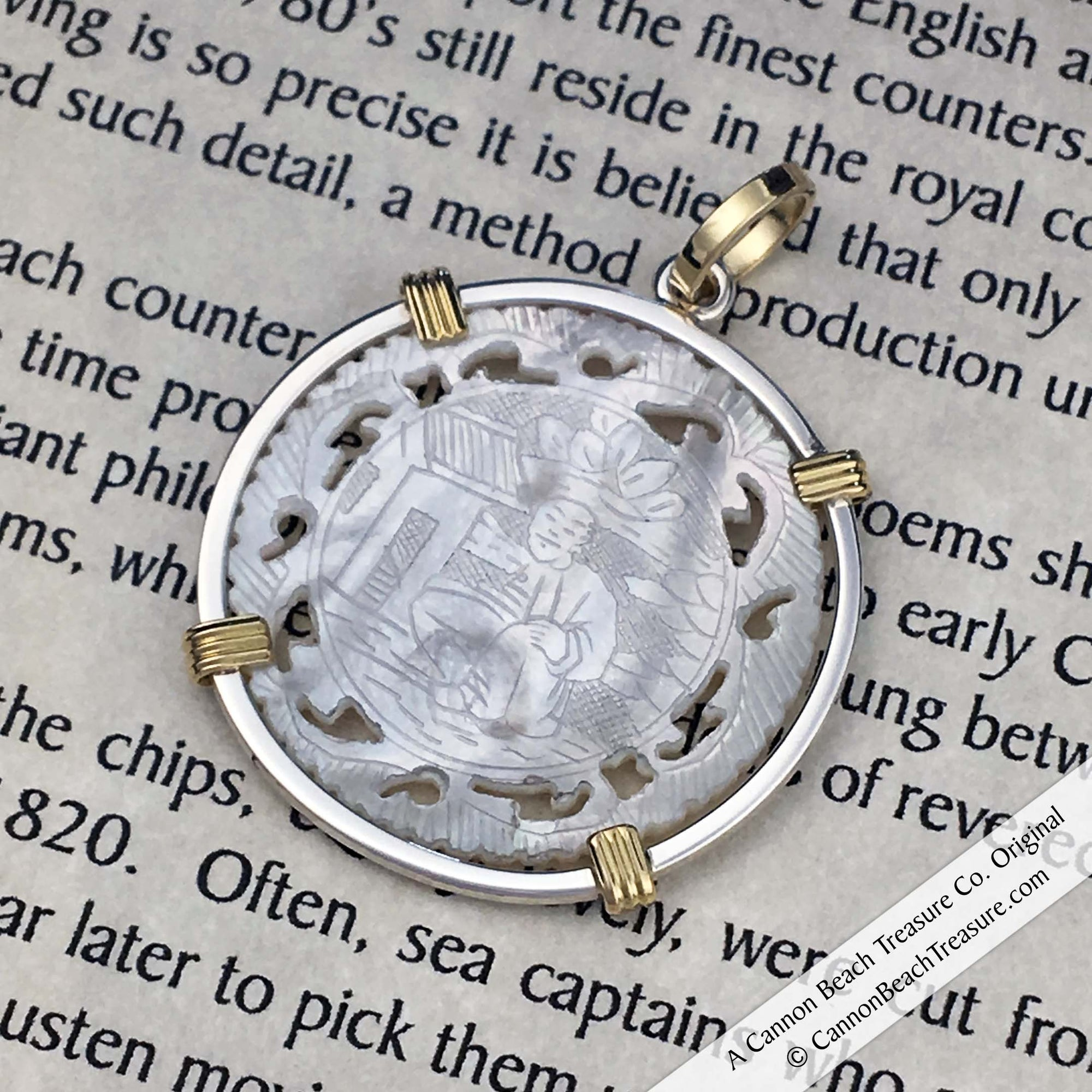 Round Pierced Mother of Pearl Gaming Counter Pendant in Sterling Silver & 18K Gold | Artifact #8234