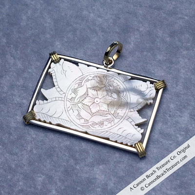 8235 Carved Rectangle Mother of Pearl Gaming Counter Pendant in Sterling Silver & 18K Gold