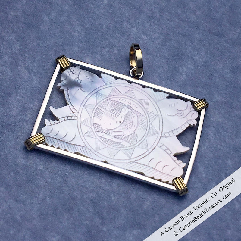 Carved Rectangle Mother of Pearl Gaming Counter Pendant in Sterling Silver & 18K Gold | Artifact #8235