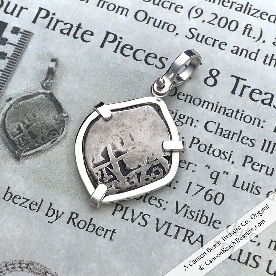 "1760 Spanish 1 Reale Cob Pirate ""Piece of Eight"" Silver Pendant 