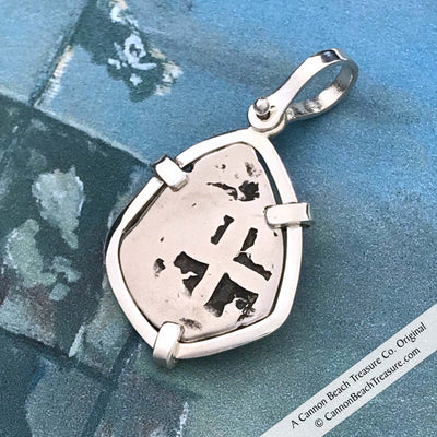 "Spanish 1760 1 Reale Cob Pirate ""Piece of Eight"" Silver Pendant"