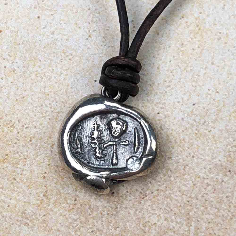 "Limited Authentic Ancient Egyptian ""Mummy Bead"" Edition: Ancient Egyptian Ankh Fine Silver Wax Seal Pendant"