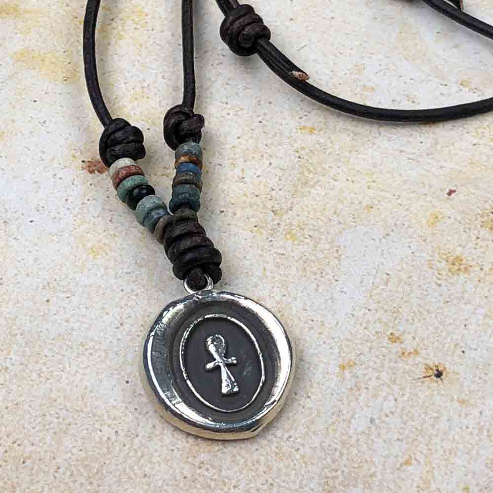"Limited Authentic Ancient Egyptian ""Mummy Bead"" Edition: Egyptian Ankh Fine Silver Wax Seal Pendant 