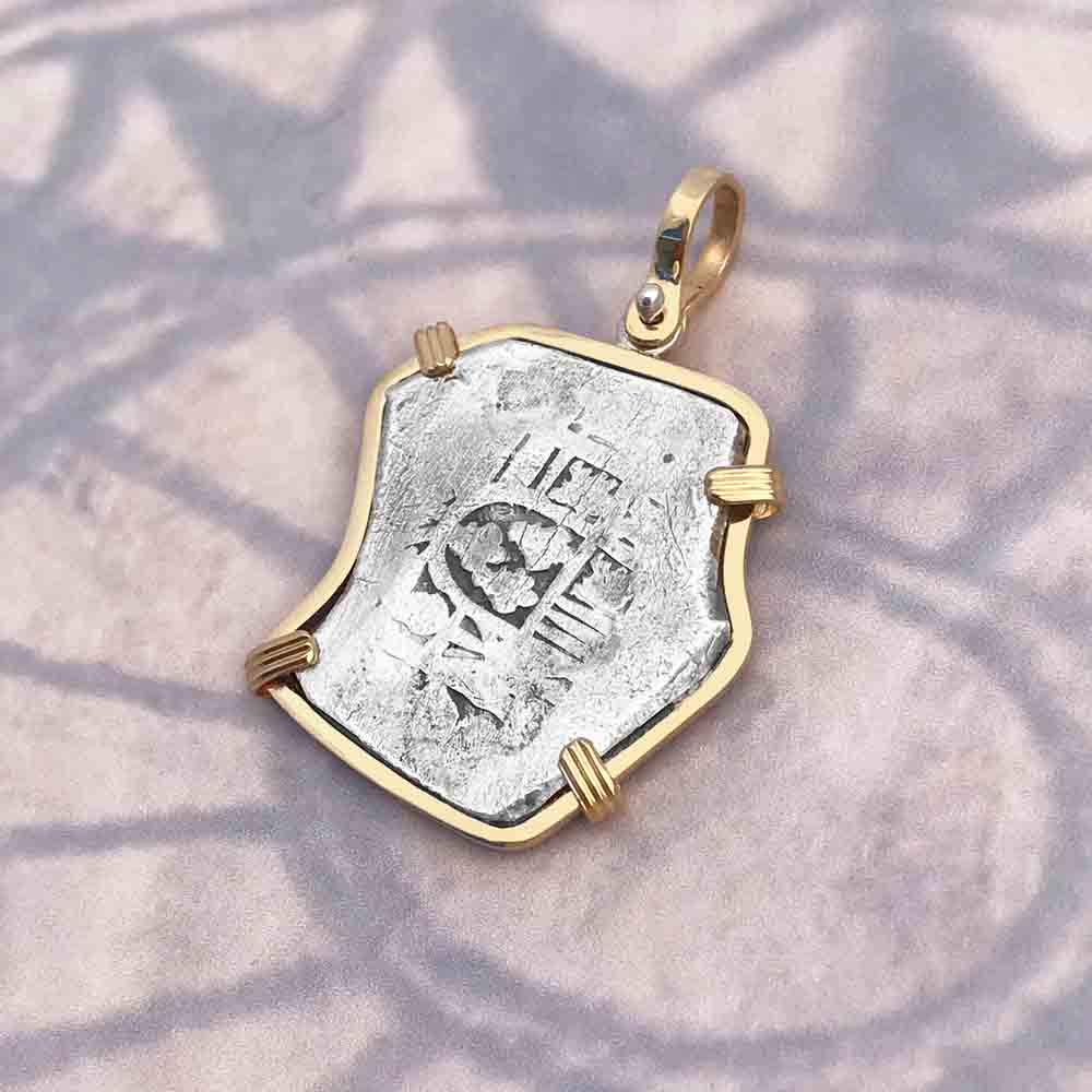 VOC Rooswijk Dutch East India Company Shipwreck 4 Reale Piece of Eight in 14K Gold Pendant | Artifact #8423