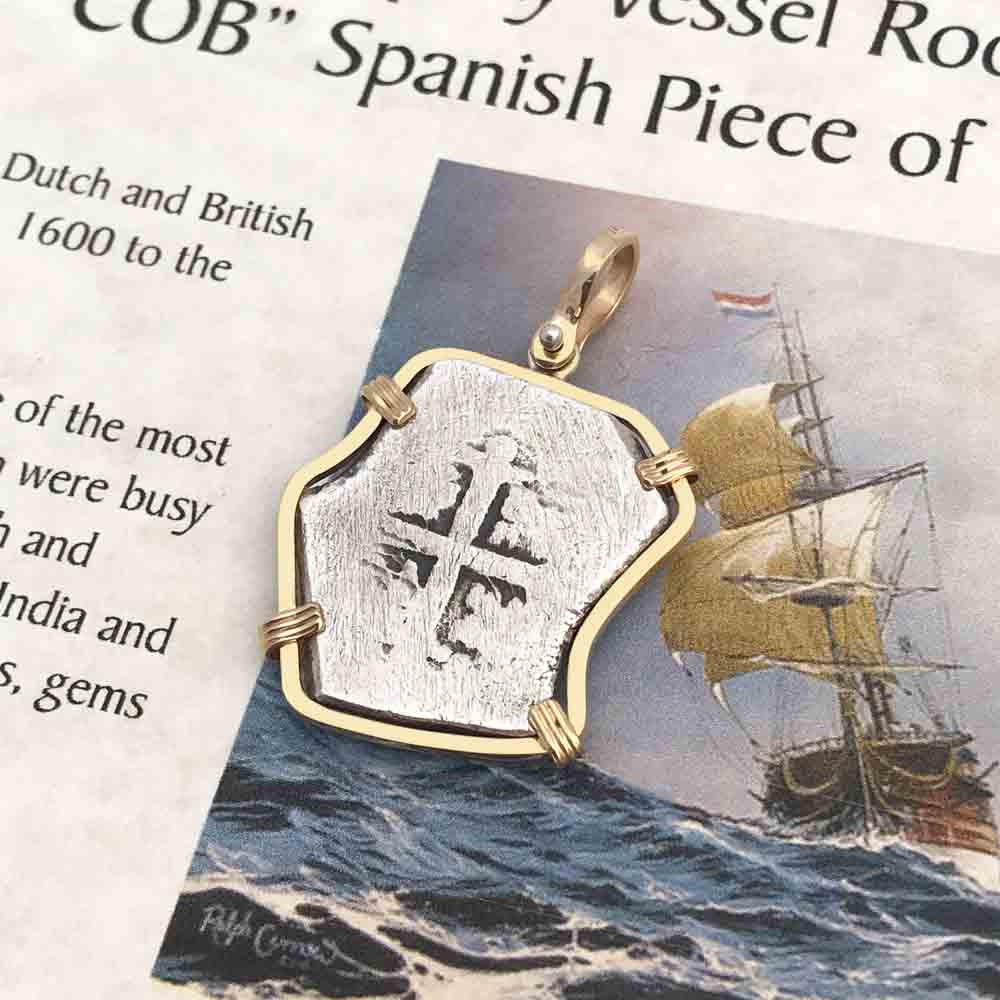 VOC Rooswijk Dutch East India Company Shipwreck 4 Reale Piece of Eight in 14K Gold Pendant