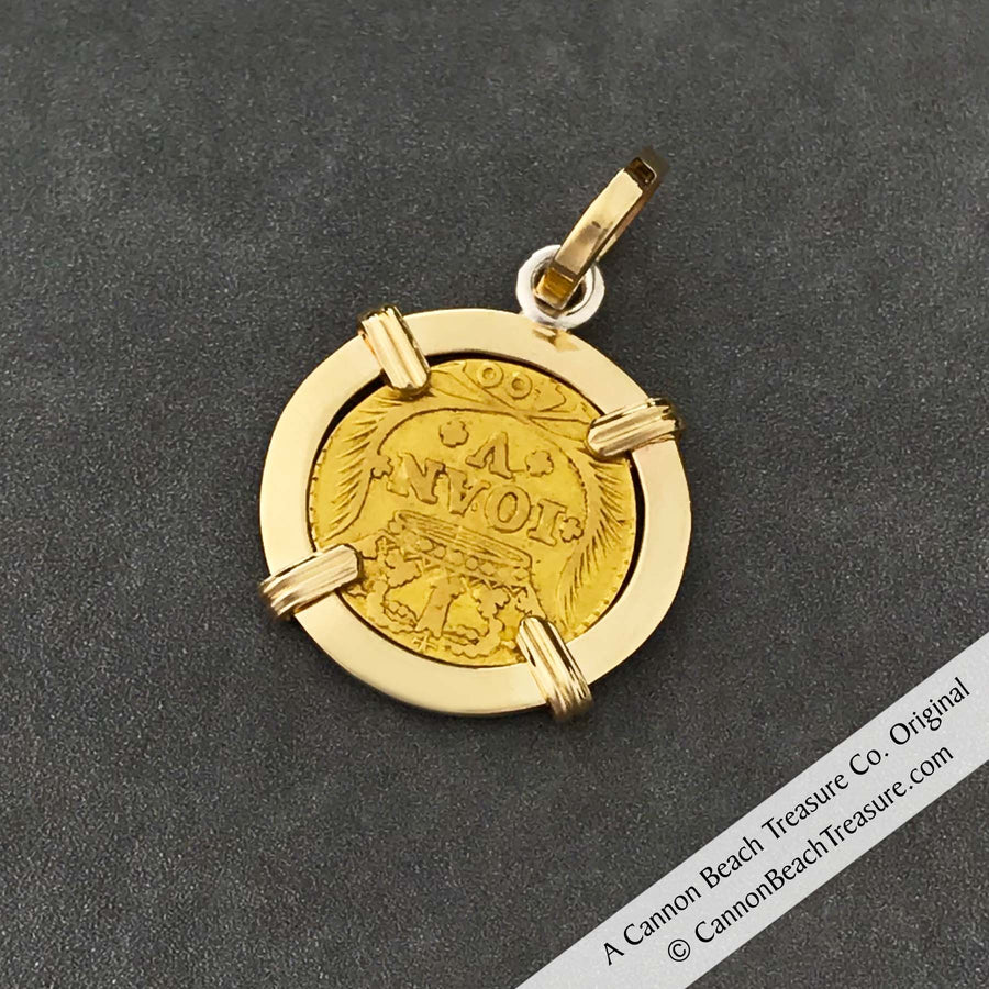 "1734 Portuguese 22K Gold 400 Reis ""In This Sign Conquer"" Crusaders' Cross 14K Gold Coin Pendant 