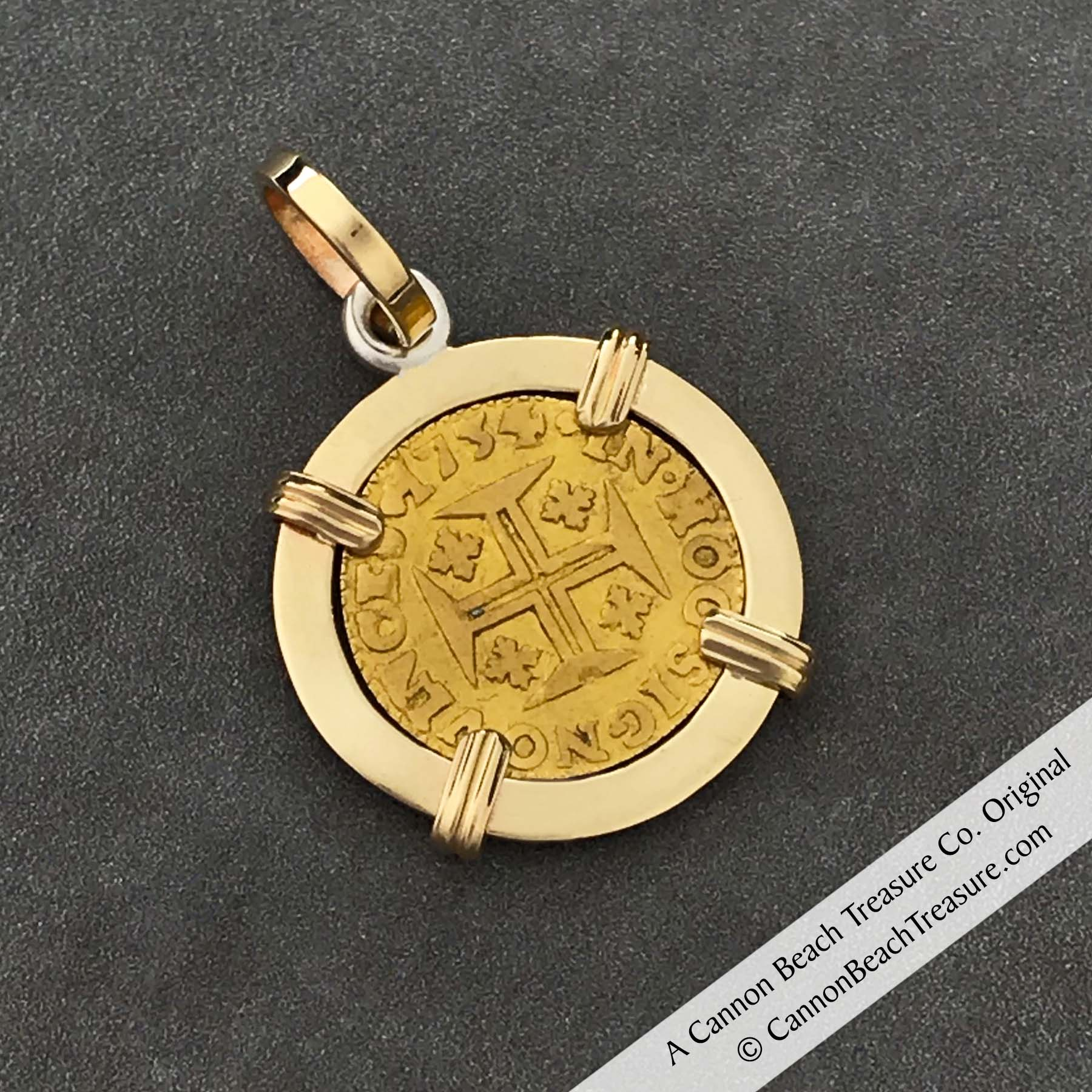 "1734 Portuguese 22K Gold 400 Reis ""In This Sign Conquer"" Crusaders' Cross 14K Gold Coin Pendant"
