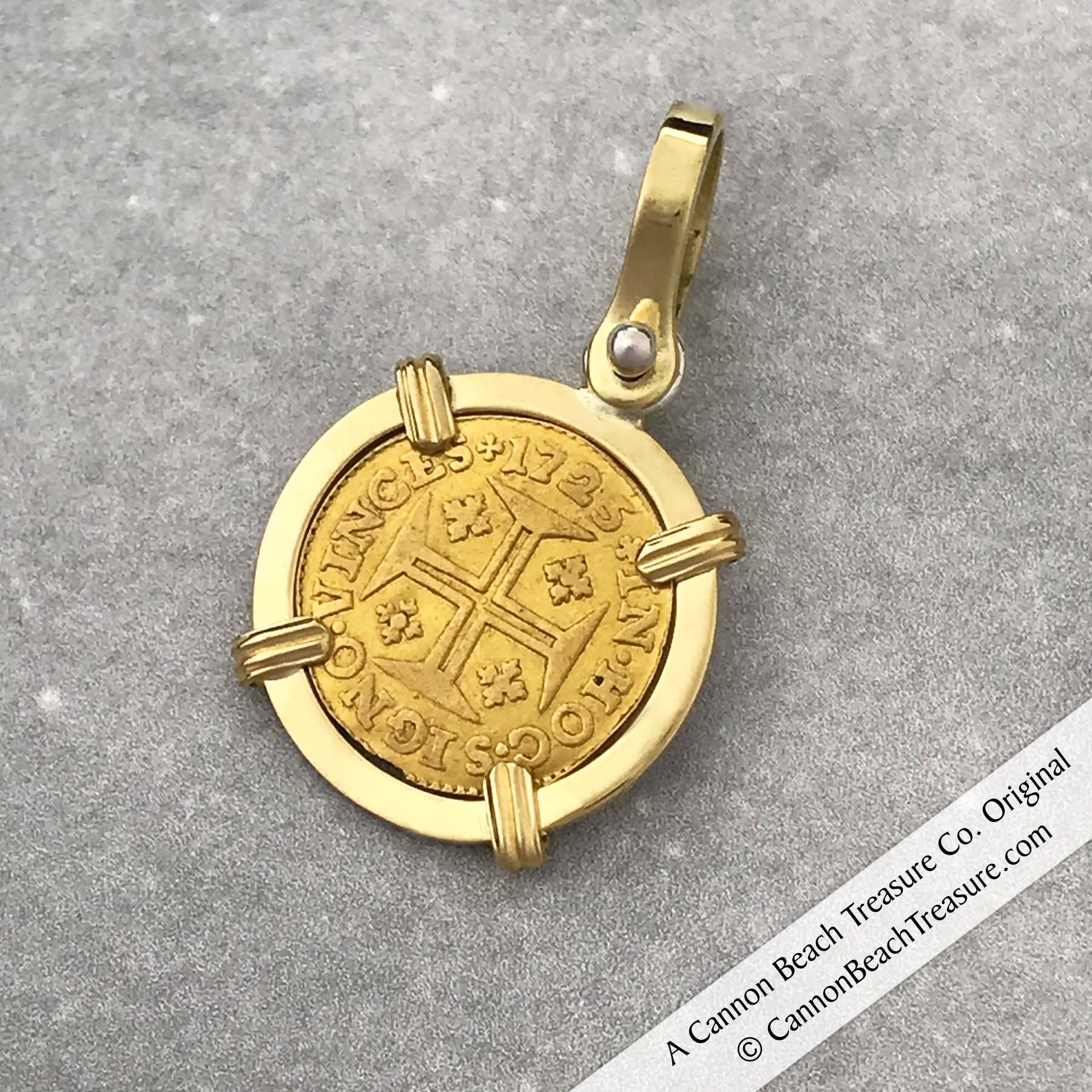 "1725 Portuguese 22K Gold 400 Reis ""In This Sign Conquer"" Crusaders' Cross 18K Gold Coin Pendant"