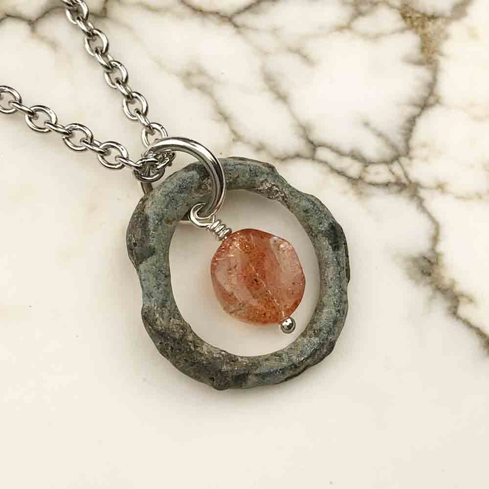 Green Raised Ridge Celtic Ring Money & Genuine Oregon Sunstone Necklace