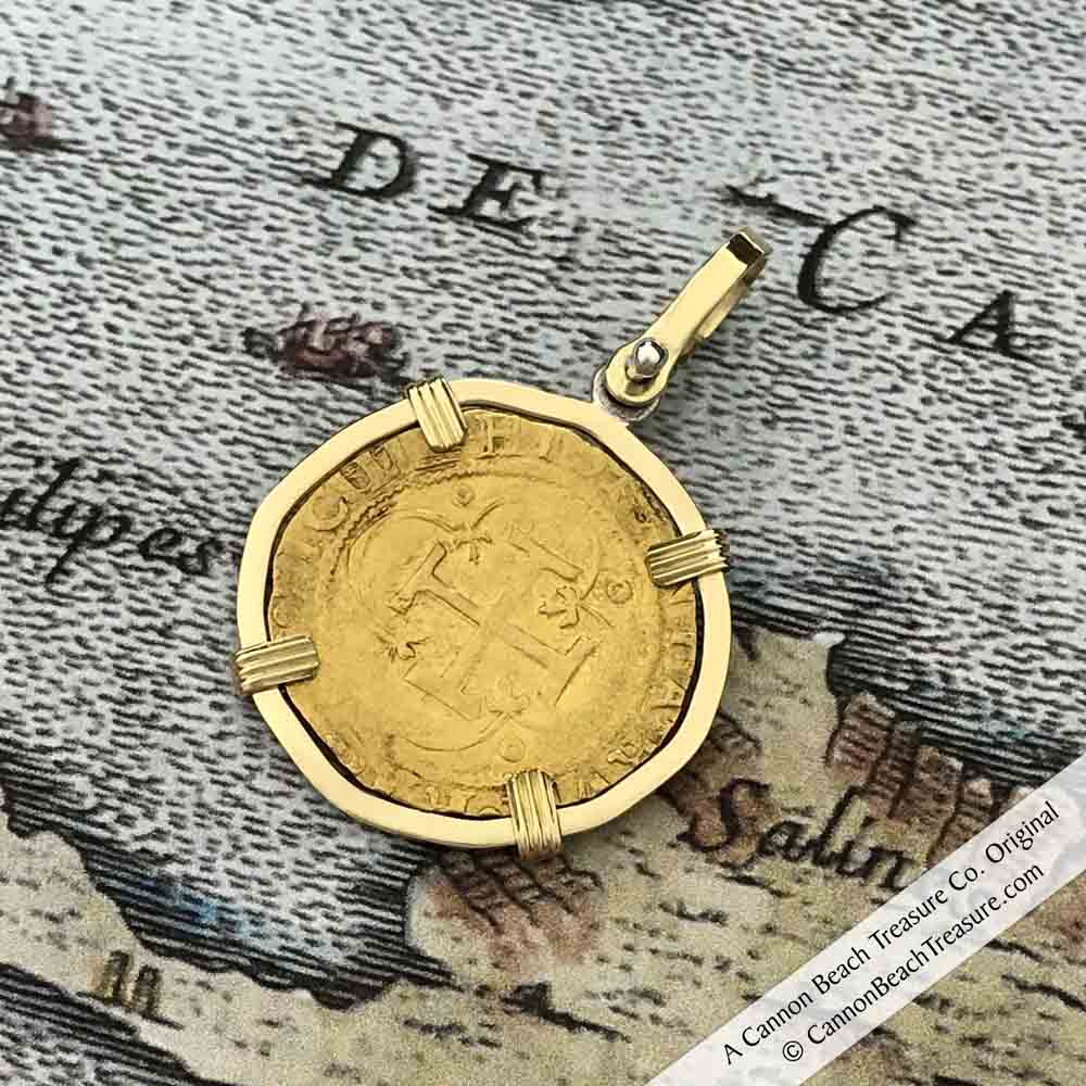 Cadiz Bay 1535 22K Gold 1 Escudo - the Legendary Doubloon - Charles and  Joanna - 18K Gold Pendant | Artifact #8456