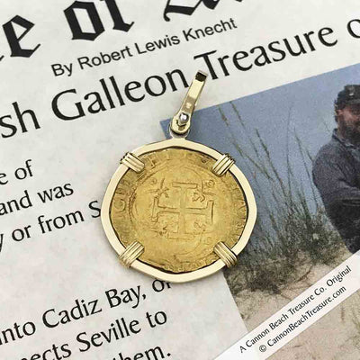 Cadiz Bay 1535 22K Gold 1 Escudo - the Legendary Doubloon - Charles and Joanna - 18K Gold Pendant