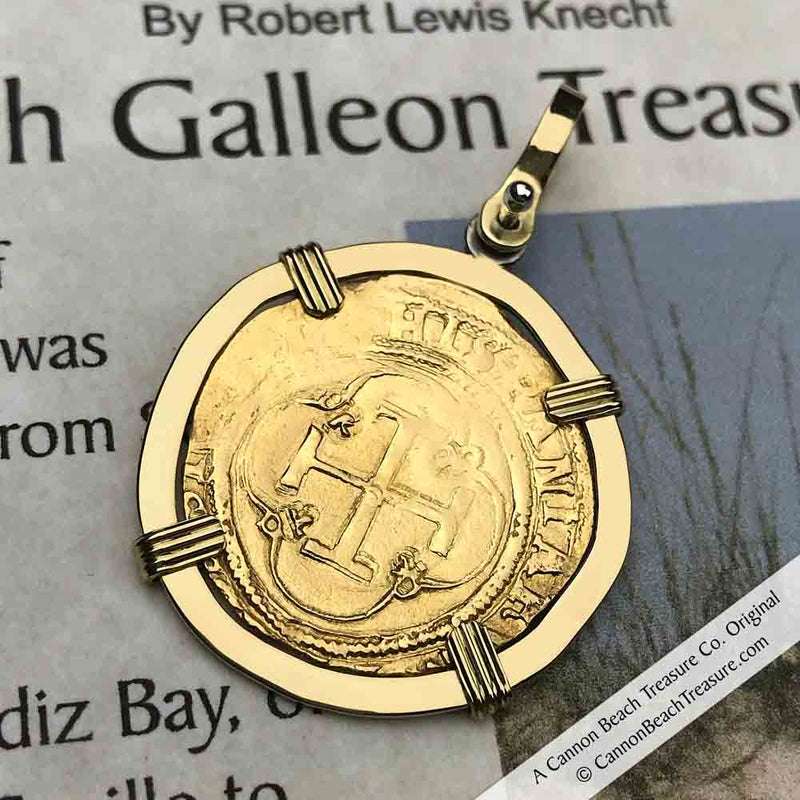 1535 Shipwreck 22K Gold 1 Escudo - the Legendary Doubloon 18K Gold Necklace | Artifact #3748
