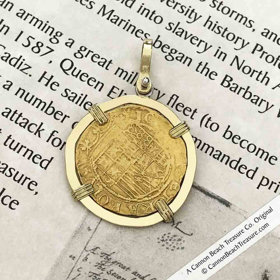 Cadiz Bay 1535 22K Gold 1 Escudo - the Legendary Doubloon - 18K Gold Pendant | Artifact #8458